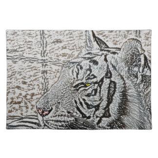 white tiger sketch yellow eye cloth placemat