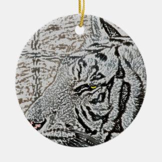 white tiger sketch yellow eye ornaments