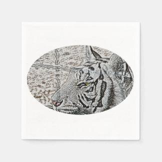 white tiger sketch yellow eye disposable napkins