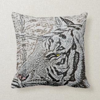 white tiger sketch yellow eye throw pillow