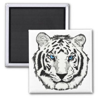 White tiger square magnet