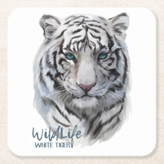 White Tiger Square Paper Coaster