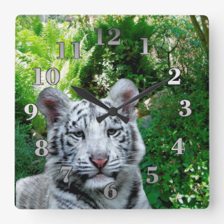White Tiger Square Wall Clock