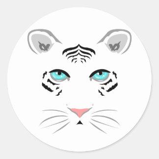 White Tiger Round Stickers