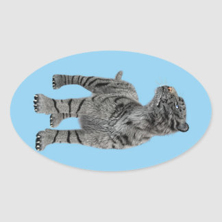 White Tiger Oval Stickers