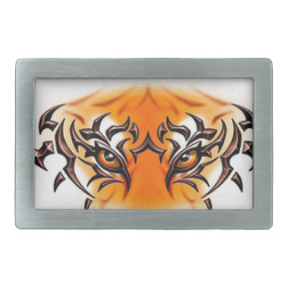 white-tiger-tattoo-color-eyes-face rectangular belt buckle