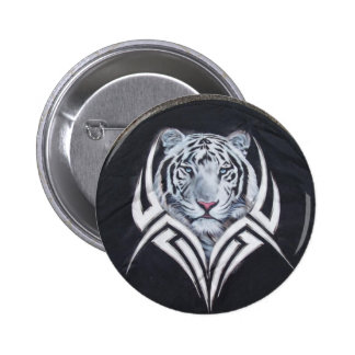 White Tiger Tribal Pinback Button