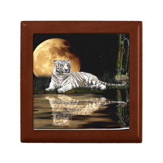 White Tiger & Tropical Moon Art Tile Gift Box