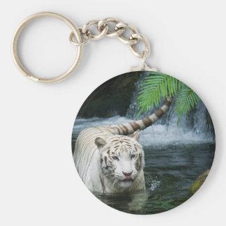 White Tiger Water Basic Round Button Keychain