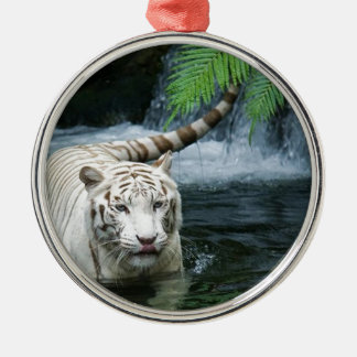White Tiger Water Metal Ornament