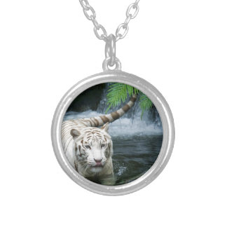 White Tiger Water Round Pendant Necklace