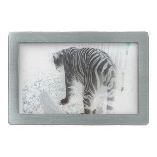 White Tiger wild animal Rectangular Belt Buckle