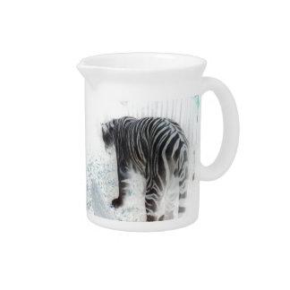 White Tiger wild animal Drink Pitcher
