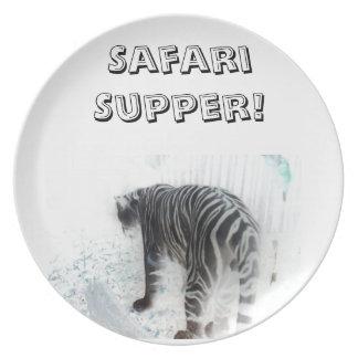 White Tiger wild animal Melamine Plate