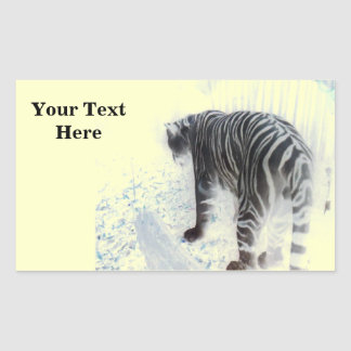 White Tiger wild animal Rectangular Sticker
