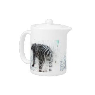 White Tiger wild animal Teapot