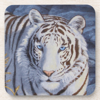 White Tiger with Blue Eyes Beverage Coaster