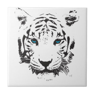 White Tiger with Blue Eyes Ceramic Tile