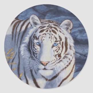 White Tiger with Blue Eyes Classic Round Sticker