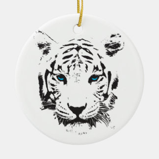 White Tiger with Blue Eyes Double-Sided Ceramic Round Christmas Ornament