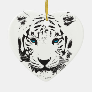 White Tiger with Blue Eyes Double-Sided Heart Ceramic Christmas Ornament