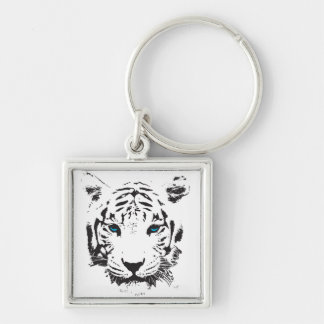 White Tiger with Blue Eyes Keychain