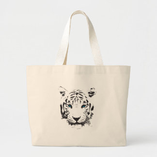 White Tiger with Blue Eyes Large Tote Bag
