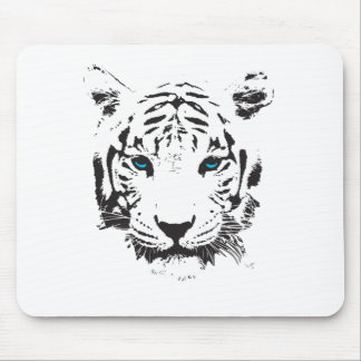 White Tiger with Blue Eyes Mouse Pad