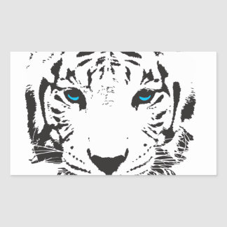 White Tiger with Blue Eyes Rectangular Sticker