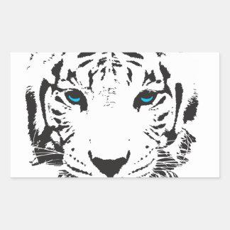 White Tiger with Blue Eyes Rectangular Sticker