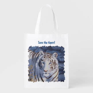 White Tiger with Blue Eyes Reusable Grocery Bag