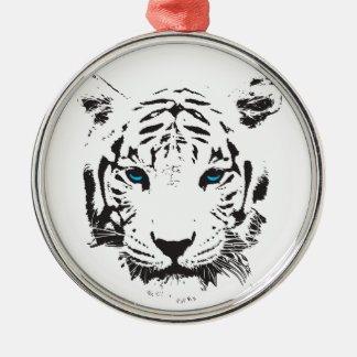 White Tiger with Blue Eyes Round Metal Christmas Ornament