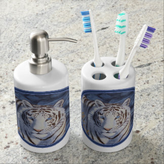White Tiger with Blue Eyes Soap Dispenser & Toothbrush Holder