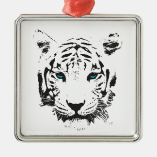 White Tiger with Blue Eyes Square Metal Christmas Ornament
