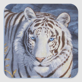White Tiger with Blue Eyes Square Sticker