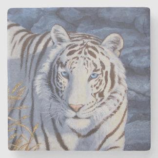 White Tiger with Blue Eyes Stone Coaster