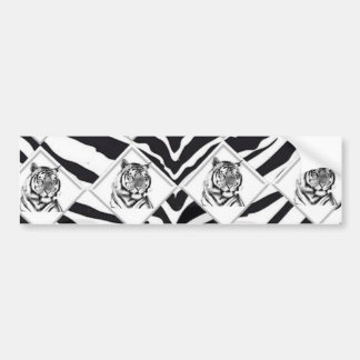 White Tiger with Checkerboard Bacground Bumper Sticker