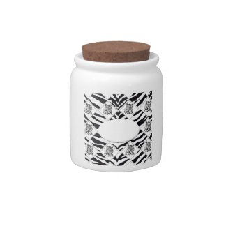 White Tiger with Checkerboard Bacground Candy Jar