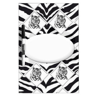 White Tiger with Checkerboard Bacground Dry-Erase Whiteboard
