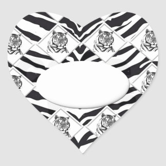 White Tiger with Checkerboard Bacground Heart Sticker