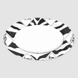 White Tiger with Checkerboard Bacground Oval Sticker