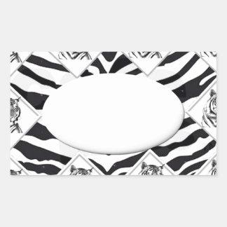 White Tiger with Checkerboard Bacground Rectangular Sticker