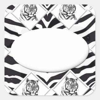 White Tiger with Checkerboard Bacground Square Sticker