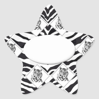 White Tiger with Checkerboard Bacground Star Sticker