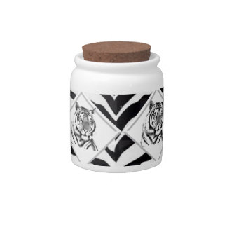White Tiger with Checkerboard Background Candy Jars