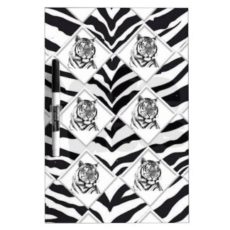 White Tiger with Checkerboard Background Dry-Erase Board