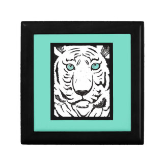 White Tiger with Turquoise Border Gift Box