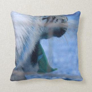 white tiger yawn blue side large cat animal image pillow