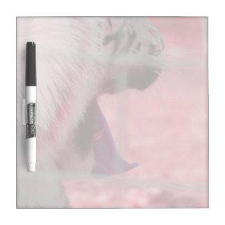 white tiger yawn pink side animal image Dry-Erase boards