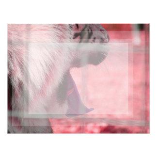 white tiger yawn pink side animal image letterhead